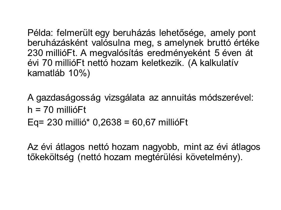 Példa: felmerült egy beruházás lehetősége, amely pont beruházásként valósulna meg, s amelynek bruttó értéke 230 millióFt.