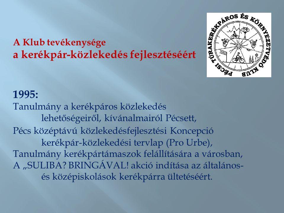 A Klub tevékenysége a kerékpár-közlekedés fejlesztéséért 1996: Kerékváros címmel kerékpárpolitikai folyóirat indítása (megjelent nyomtatásban minden páratlan hónapban, 2009-től interneten: www.kerekvaros.hu)www.kerekvaros.hu Az első kerékpárút avatása a belváros és a kertváros között Az első kerékpártámaszok felállítása Pécsett A kerékpártámaszokat és felállításuk helyét a Klub tervezte, a költségeket a Környezetünkért közalapítvány biztosította