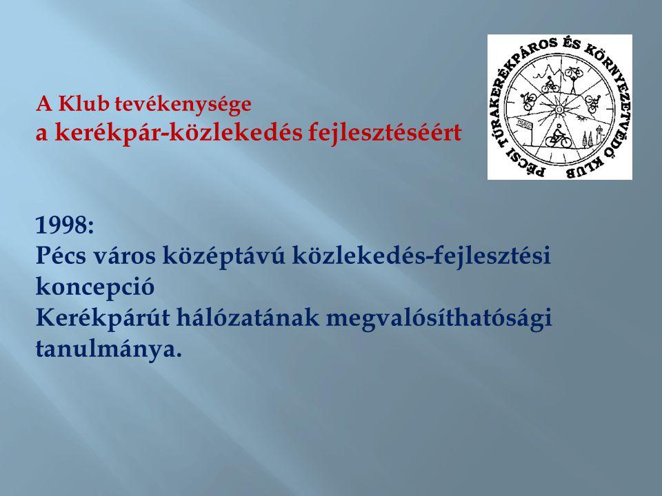 A Klub tevékenysége a kerékpár-közlekedés fejlesztéséért 1999: A Dél-dunántúli kerékpáros turizmus fejlesztése c.