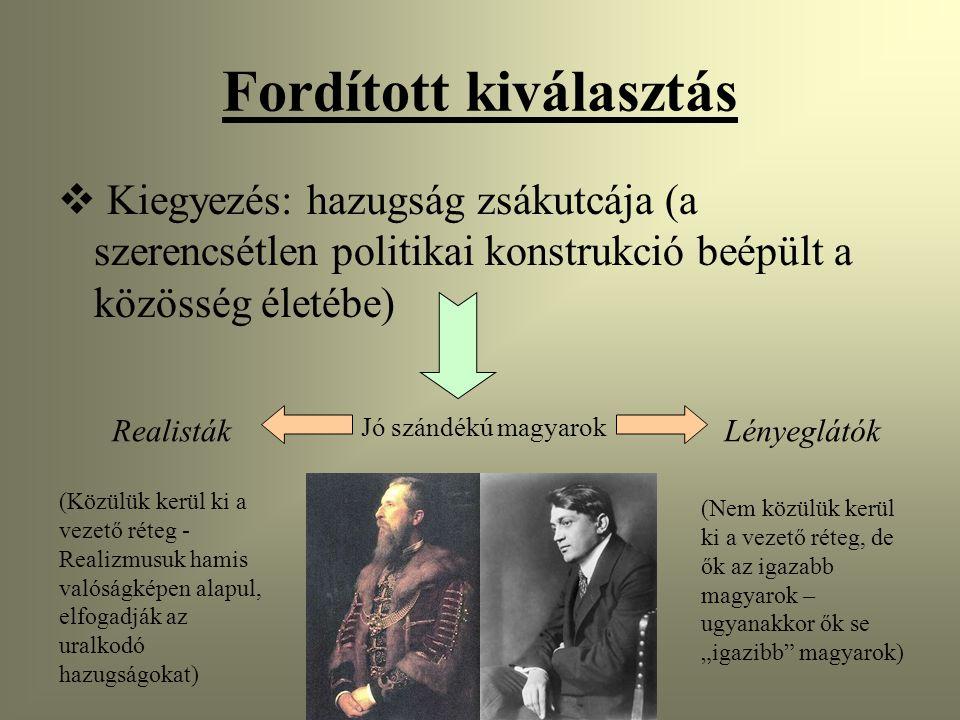 """Fordított kiválasztás  Kiegyezés: hazugság zsákutcája (a szerencsétlen politikai konstrukció beépült a közösség életébe) Jó szándékú magyarok RealistákLényeglátók (Közülük kerül ki a vezető réteg - Realizmusuk hamis valóságképen alapul, elfogadják az uralkodó hazugságokat) (Nem közülük kerül ki a vezető réteg, de ők az igazabb magyarok – ugyanakkor ők se """"igazibb magyarok)"""