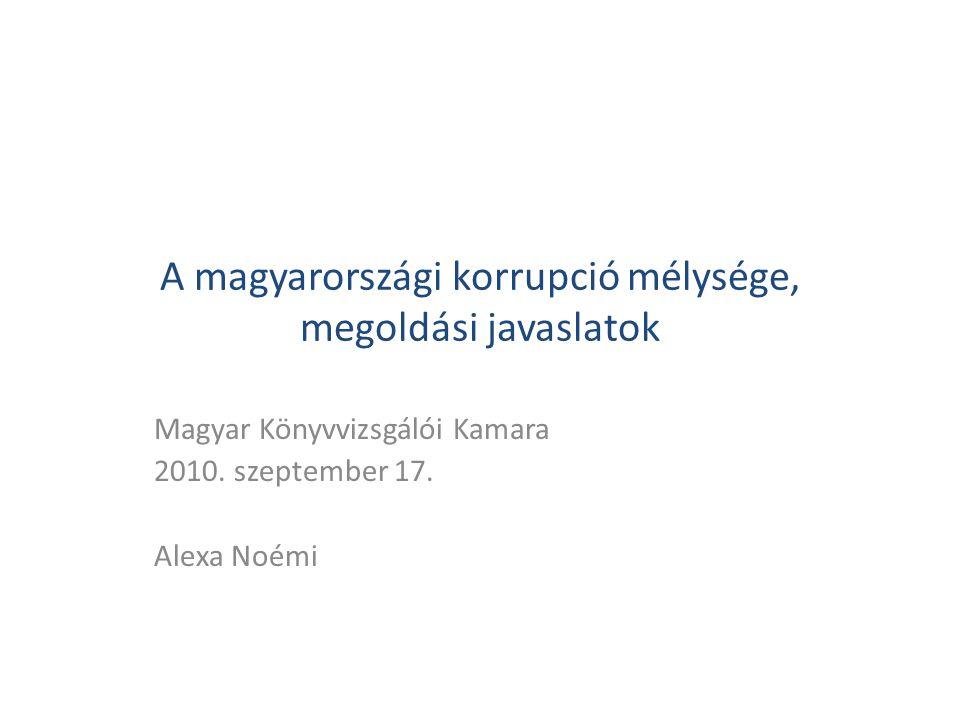 A magyarországi korrupció mélysége, megoldási javaslatok Magyar Könyvvizsgálói Kamara 2010. szeptember 17. Alexa Noémi