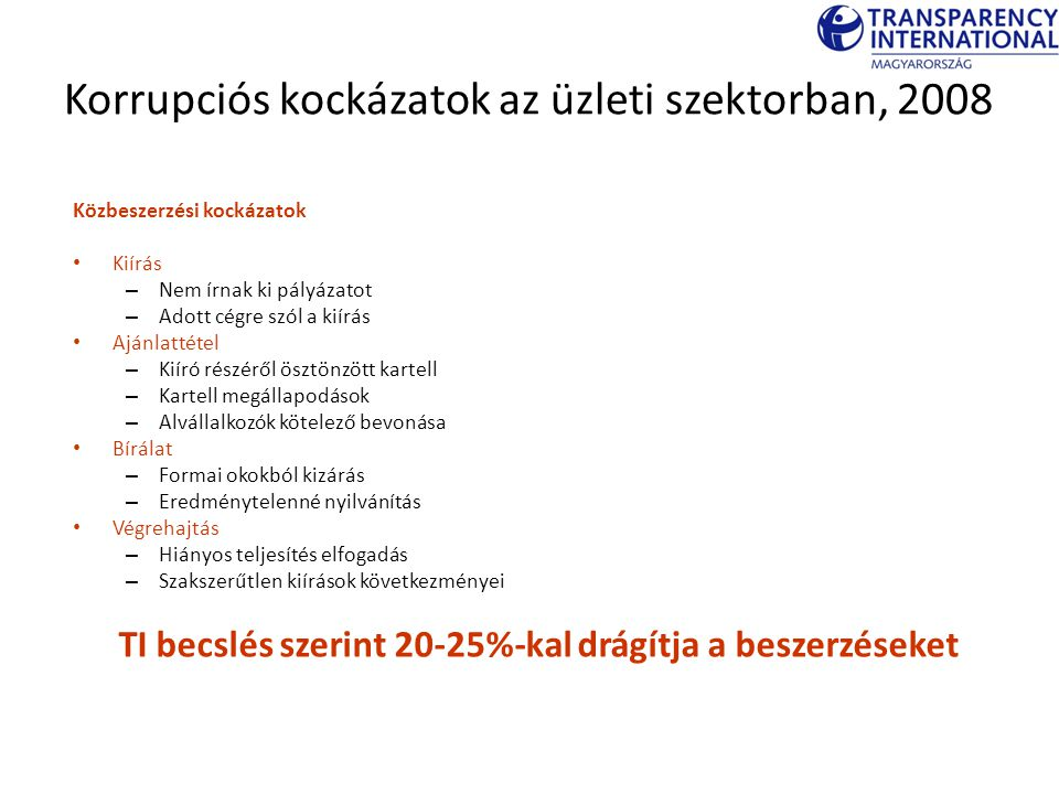 Korrupciós kockázatok az üzleti szektorban, 2008 Közbeszerzési kockázatok Kiírás – Nem írnak ki pályázatot – Adott cégre szól a kiírás Ajánlattétel –