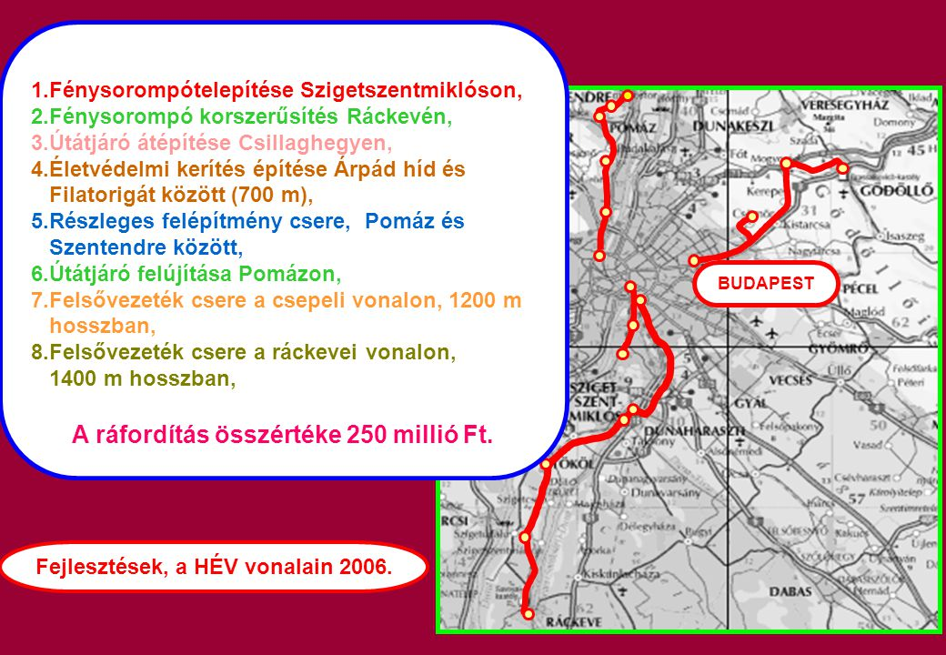 BUDAPEST Fejlesztések, a HÉV vonalain 2006. 1.Fénysorompótelepítése Szigetszentmiklóson, 2.Fénysorompó korszerűsítés Ráckevén, 3.Útátjáró átépítése Cs