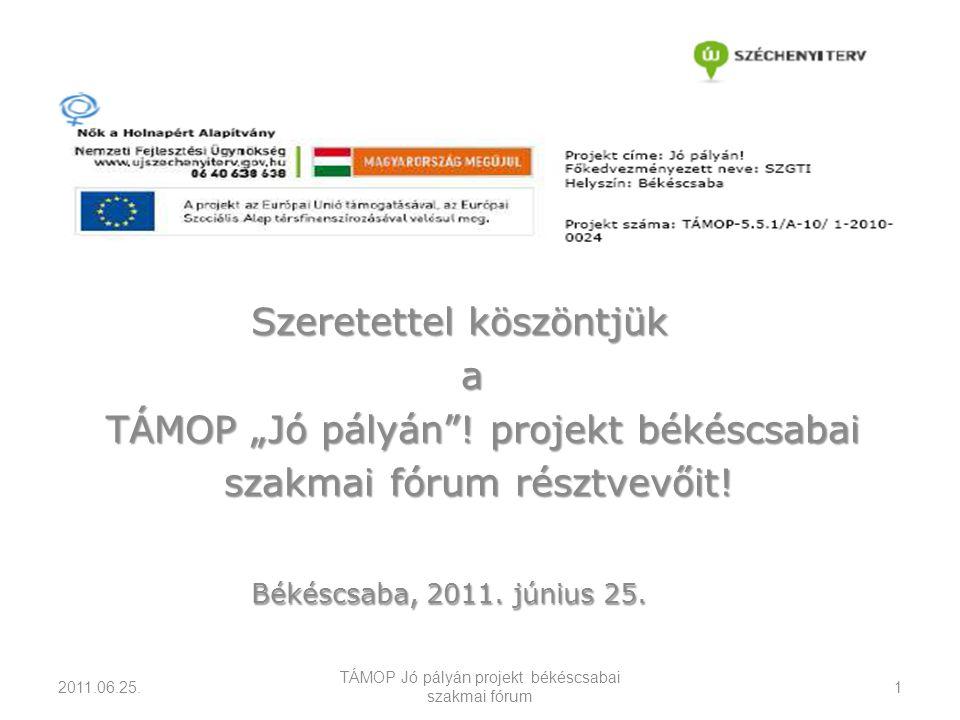 """Szeretettel köszöntjük a TÁMOP """"Jó pályán . projekt békéscsabai TÁMOP """"Jó pályán ."""