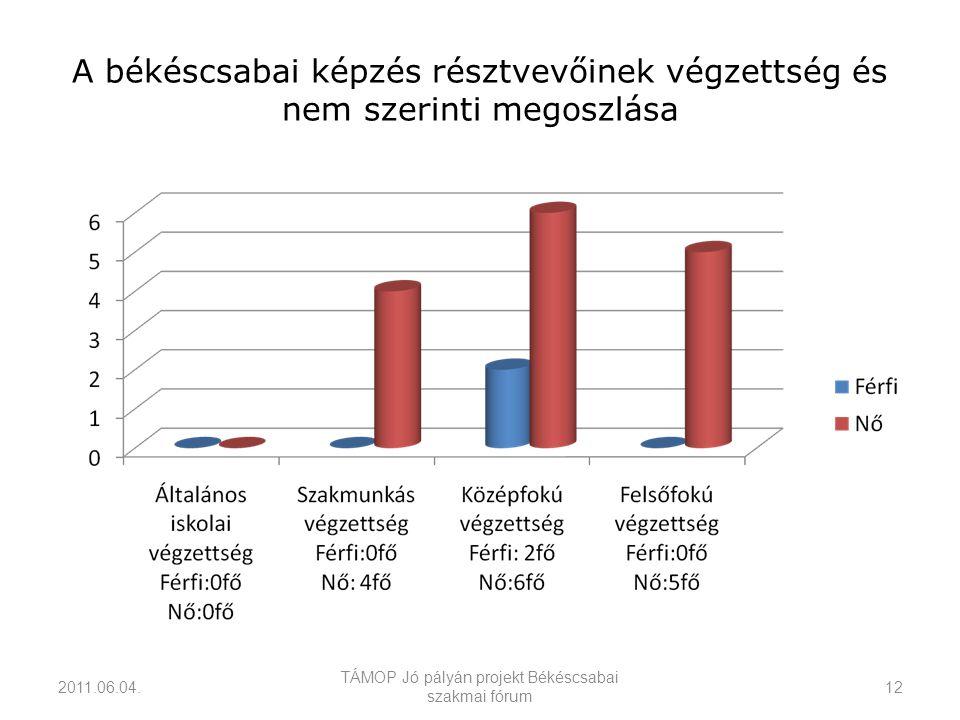 A békéscsabai képzés résztvevőinek végzettség és nem szerinti megoszlása 2011.06.04.