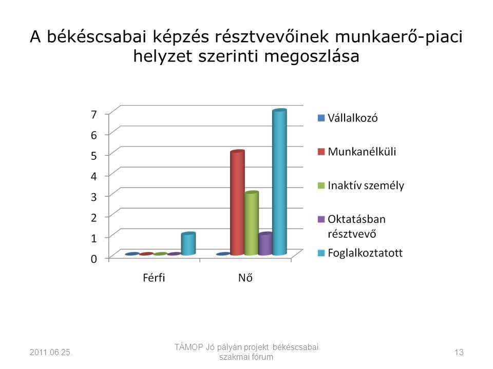 A békéscsabai képzés résztvevőinek munkaerő-piaci helyzet szerinti megoszlása 2011.06.25.