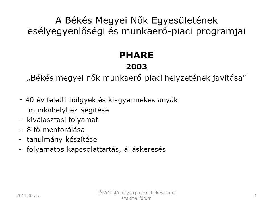 """A Békés Megyei Nők Egyesületének esélyegyenlőségi és munkaerő-piaci programjai PHARE 2003 """"Békés megyei nők munkaerő-piaci helyzetének javítása - 40 év feletti hölgyek és kisgyermekes anyák munkahelyhez segítése - kiválasztási folyamat - 8 fő mentorálása - tanulmány készítése - folyamatos kapcsolattartás, álláskeresés 2011.06.25."""