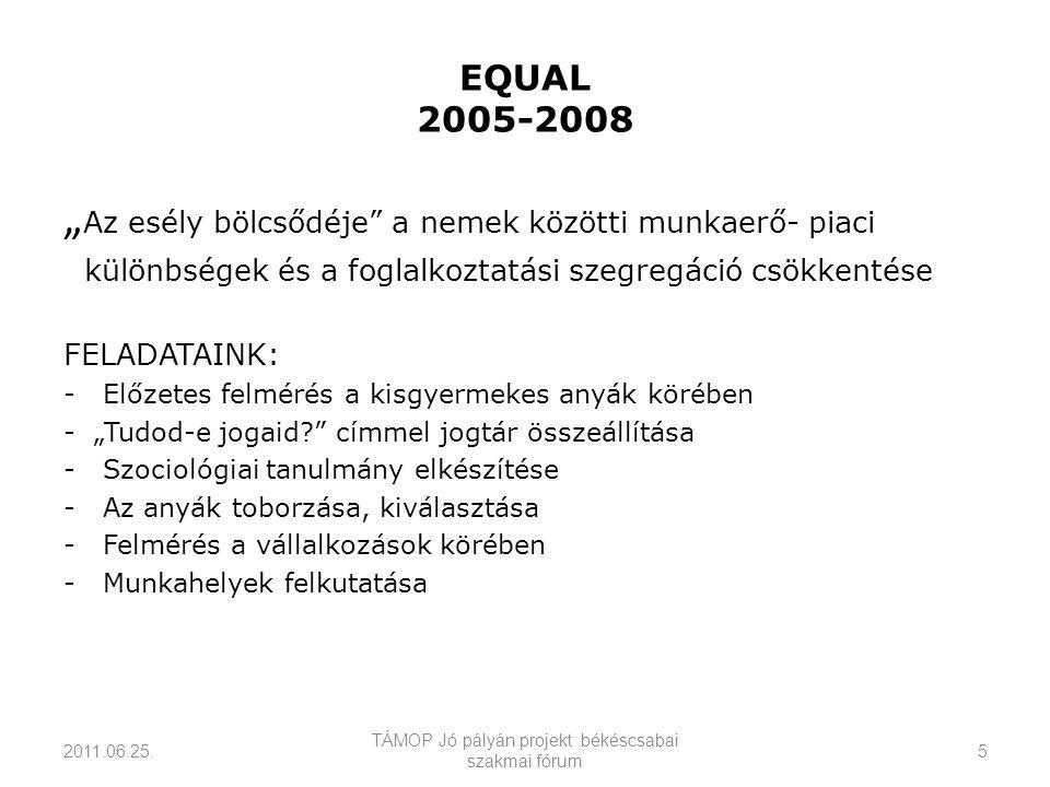 """EQUAL 2005-2008 """" Az esély bölcsődéje a nemek közötti munkaerő- piaci különbségek és a foglalkoztatási szegregáció csökkentése FELADATAINK: -Előzetes felmérés a kisgyermekes anyák körében - """"Tudod-e jogaid címmel jogtár összeállítása -Szociológiai tanulmány elkészítése -Az anyák toborzása, kiválasztása -Felmérés a vállalkozások körében - Munkahelyek felkutatása 2011.06.25."""