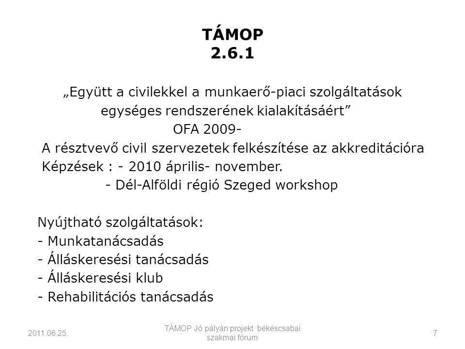 """TÁMOP 2.6.1 """"Együtt a civilekkel a munkaerő-piaci szolgáltatások egységes rendszerének kialakításáért OFA 2009- A résztvevő civil szervezetek felkészítése az akkreditációra Képzések : - 2010 április- november."""
