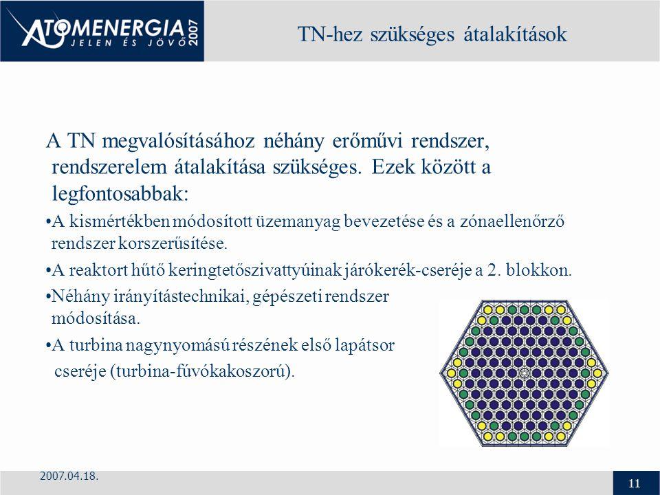 2007.04.18. 11 TN-hez szükséges átalakítások A TN megvalósításához néhány erőművi rendszer, rendszerelem átalakítása szükséges. Ezek között a legfonto