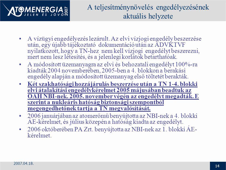 2007.04.18. 14 A teljesítménynövelés engedélyezésének aktuális helyzete A vízügyi engedélyezés lezárult. Az elvi vízjogi engedély beszerzése után, egy