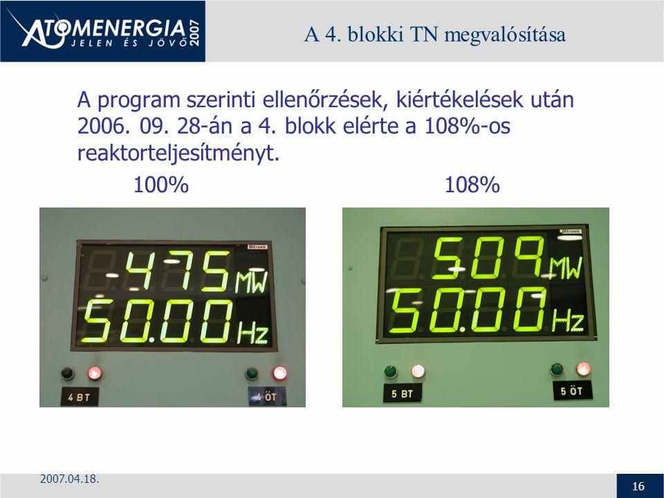 2007.04.18. 16 A 4. blokki TN megvalósítása A program szerinti ellenőrzések, kiértékelések után 2006. 09. 28-án a 4. blokk elérte a 108%-os reaktortel
