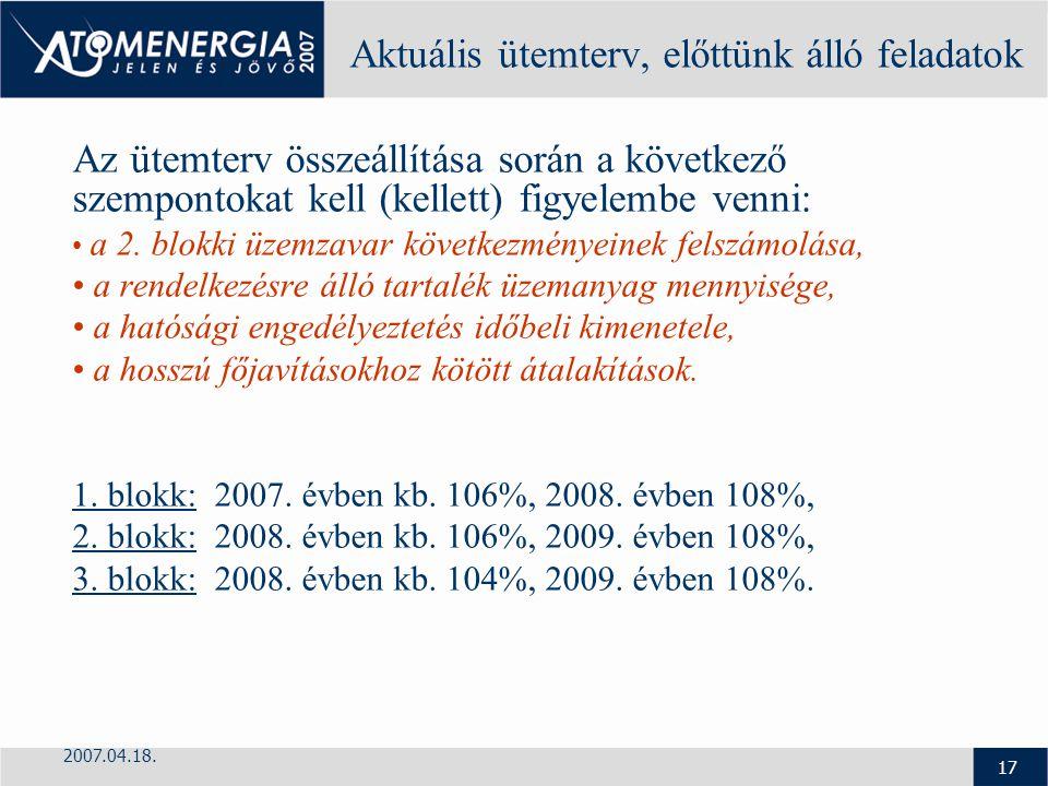 2007.04.18. 17 Aktuális ütemterv, előttünk álló feladatok Az ütemterv összeállítása során a következő szempontokat kell (kellett) figyelembe venni: a