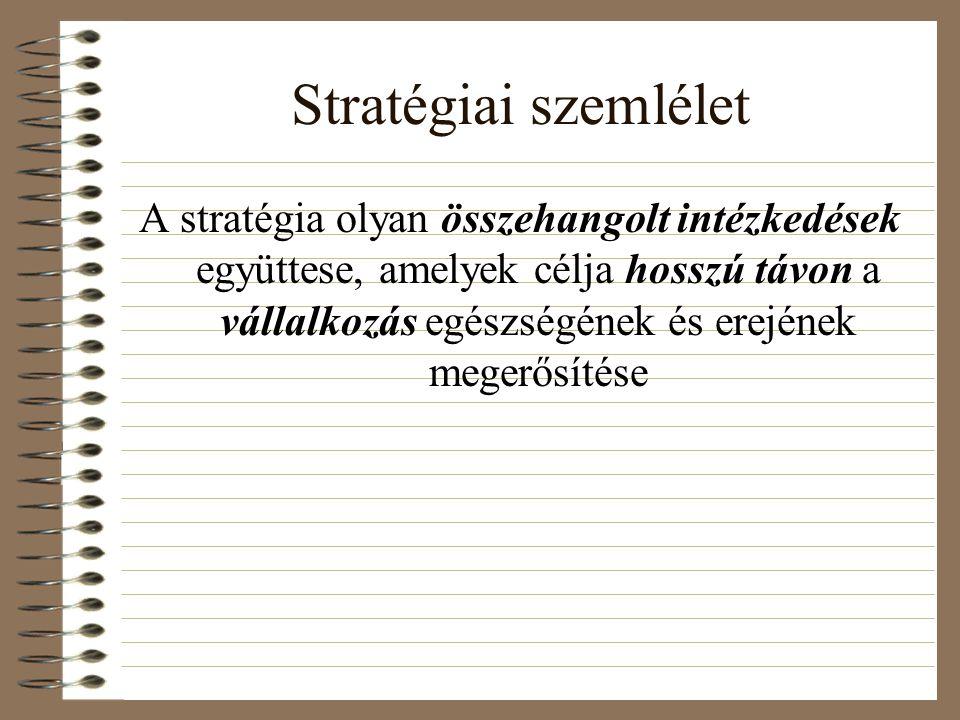 Stratégiai szemlélet A stratégia olyan összehangolt intézkedések együttese, amelyek célja hosszú távon a vállalkozás egészségének és erejének megerősítése