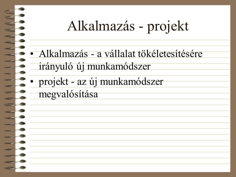 Alkalmazás - projekt Alkalmazás - a vállalat tökéletesítésére irányuló új munkamódszer projekt - az új munkamódszer megvalósítása