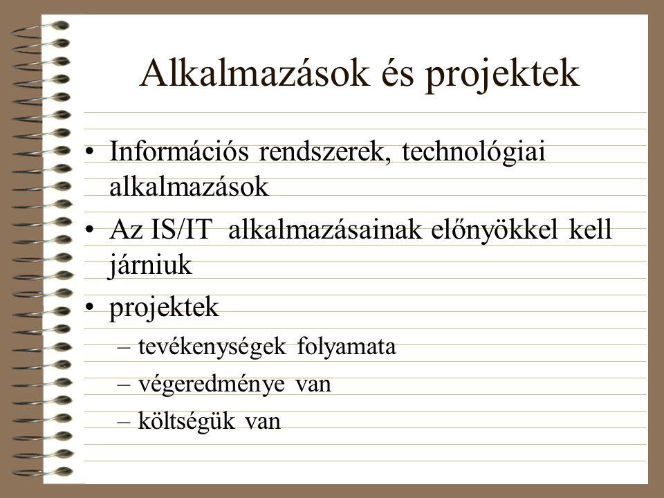 Alkalmazások és projektek Információs rendszerek, technológiai alkalmazások Az IS/IT alkalmazásainak előnyökkel kell járniuk projektek –tevékenységek folyamata –végeredménye van –költségük van