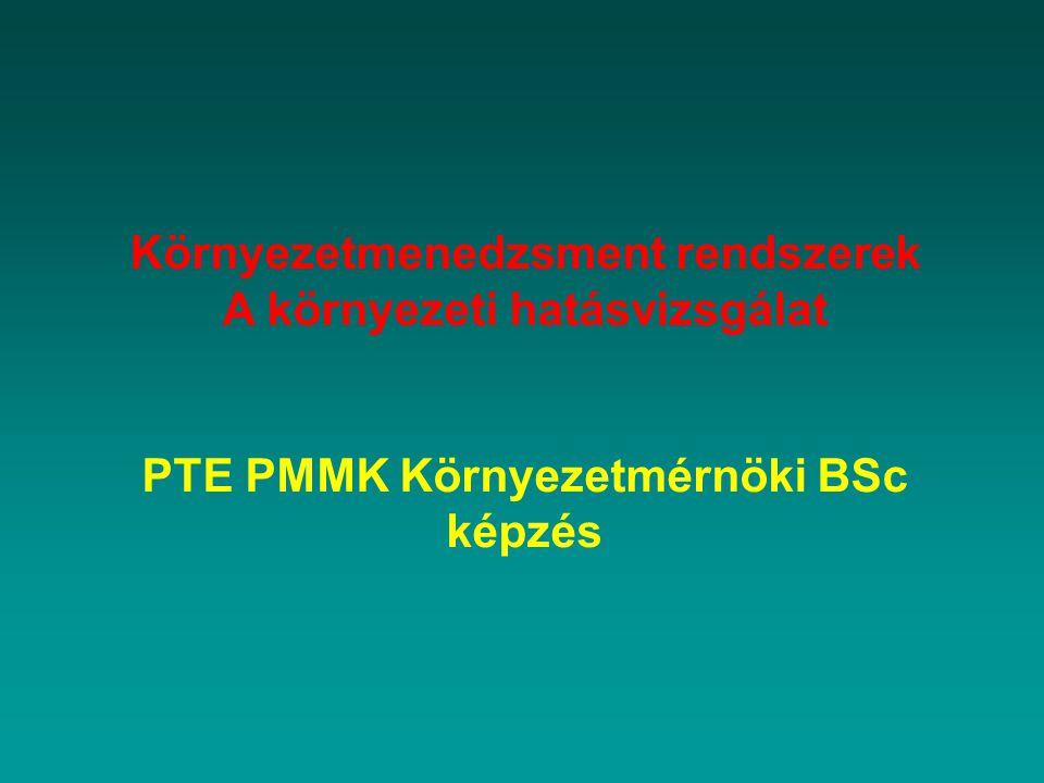 Környezetmenedzsment rendszerek A környezeti hatásvizsgálat PTE PMMK Környezetmérnöki BSc képzés
