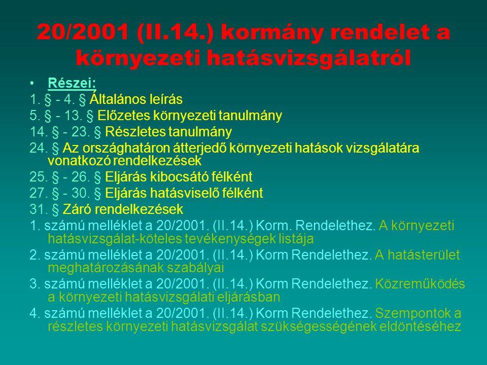 20/2001 (II.14.) kormány rendelet a környezeti hatásvizsgálatról Részei: 1. § - 4. § Általános leírás 5. § - 13. § Előzetes környezeti tanulmány 14. §