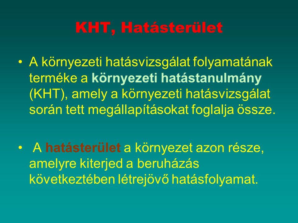 KHT, Hatásterület A környezeti hatásvizsgálat folyamatának terméke a környezeti hatástanulmány (KHT), amely a környezeti hatásvizsgálat során tett meg