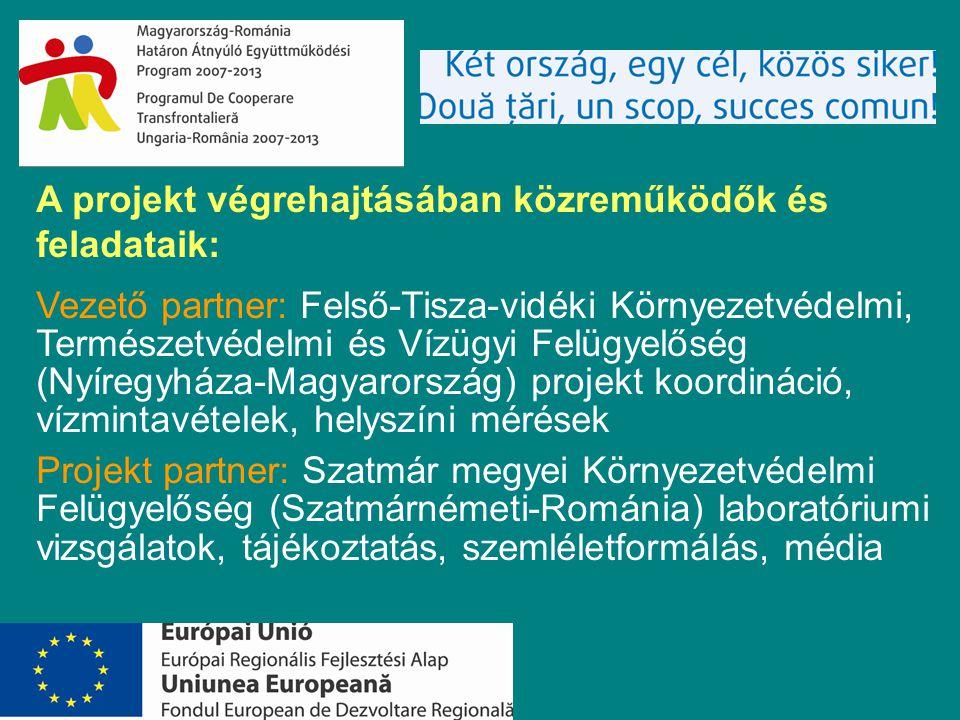 A projekt végrehajtásában közreműködők és feladataik: Vezető partner: Felső-Tisza-vidéki Környezetvédelmi, Természetvédelmi és Vízügyi Felügyelőség (Nyíregyháza-Magyarország) projekt koordináció, vízmintavételek, helyszíni mérések Projekt partner: Szatmár megyei Környezetvédelmi Felügyelőség (Szatmárnémeti-Románia) laboratóriumi vizsgálatok, tájékoztatás, szemléletformálás, média