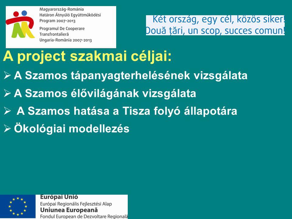 A project szakmai céljai:  A Szamos tápanyagterhelésének vizsgálata  A Szamos élővilágának vizsgálata  A Szamos hatása a Tisza folyó állapotára  Ökológiai modellezés