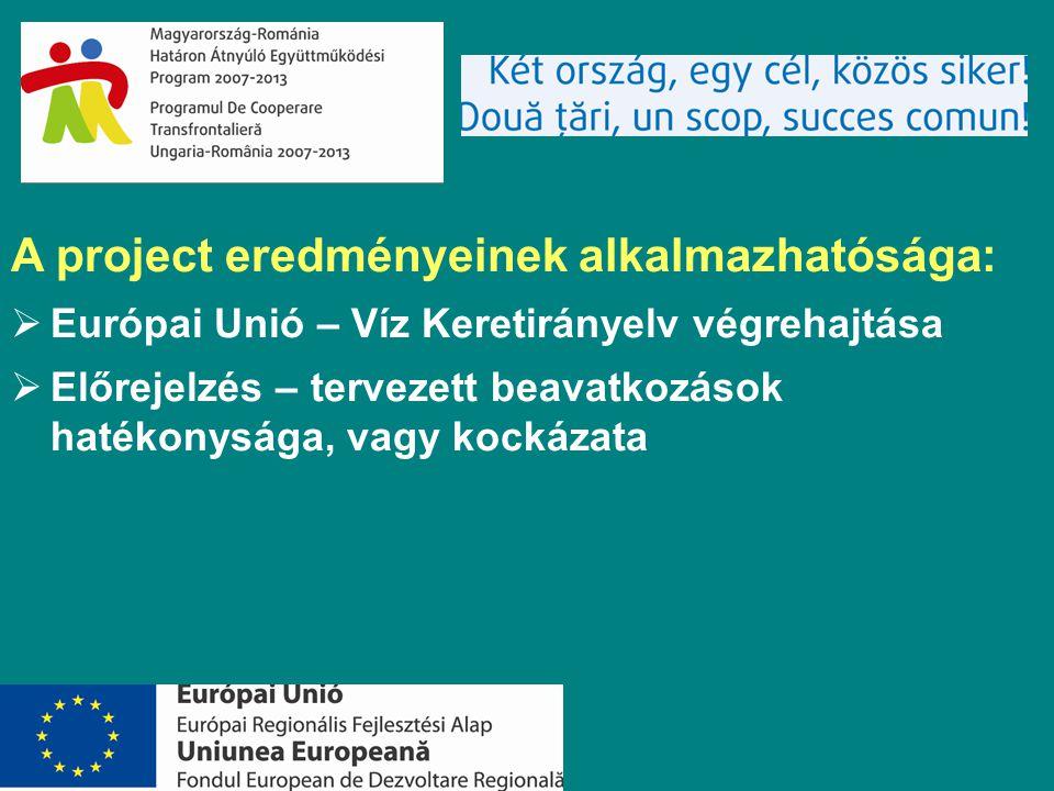 A project eredményeinek alkalmazhatósága:  Európai Unió – Víz Keretirányelv végrehajtása  Előrejelzés – tervezett beavatkozások hatékonysága, vagy kockázata