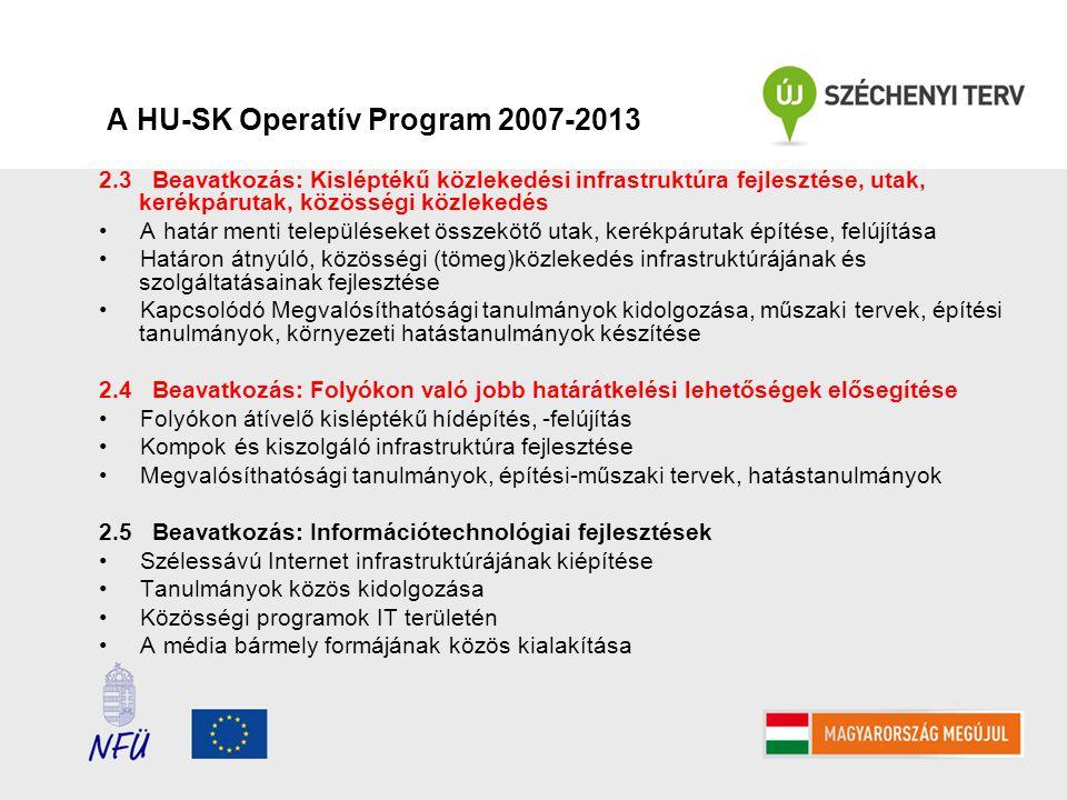 A HU-SK Operatív Program 2007-2013 2.3 Beavatkozás: Kisléptékű közlekedési infrastruktúra fejlesztése, utak, kerékpárutak, közösségi közlekedés A határ menti településeket összekötő utak, kerékpárutak építése, felújítása Határon átnyúló, közösségi (tömeg)közlekedés infrastruktúrájának és szolgáltatásainak fejlesztése Kapcsolódó Megvalósíthatósági tanulmányok kidolgozása, műszaki tervek, építési tanulmányok, környezeti hatástanulmányok készítése 2.4 Beavatkozás: Folyókon való jobb határátkelési lehetőségek elősegítése Folyókon átívelő kisléptékű hídépítés, -felújítás Kompok és kiszolgáló infrastruktúra fejlesztése Megvalósíthatósági tanulmányok, építési-műszaki tervek, hatástanulmányok 2.5 Beavatkozás: Információtechnológiai fejlesztések Szélessávú Internet infrastruktúrájának kiépítése Tanulmányok közös kidolgozása Közösségi programok IT területén A média bármely formájának közös kialakítása