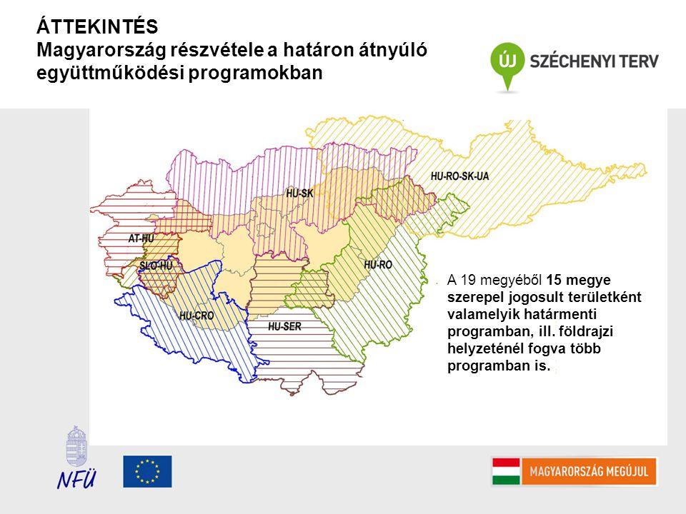 ÁTTEKINTÉS Magyarország részvétele a határon átnyúló együttműködési programokban A 19 megyéből 15 megye szerepel jogosult területként valamelyik határmenti programban, ill.