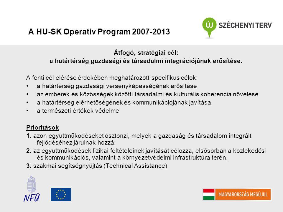 A HU-SK Operatív Program 2007-2013 Átfogó, stratégiai cél: a határtérség gazdasági és társadalmi integrációjának erősítése.