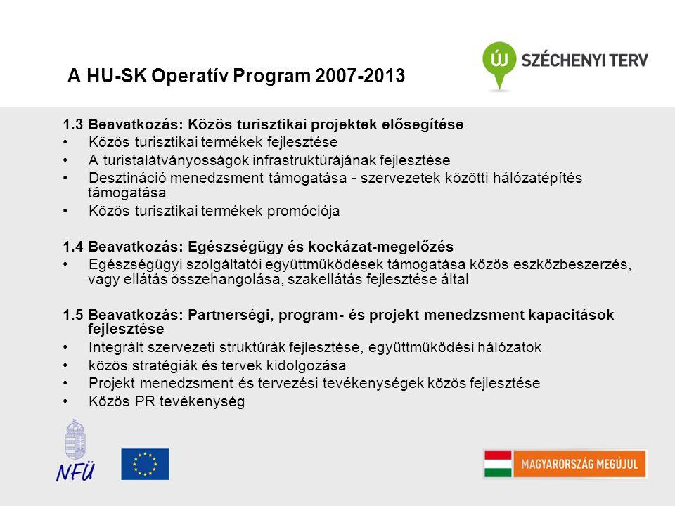 A HU-SK Operatív Program 2007-2013 1.3 Beavatkozás: Közös turisztikai projektek elősegítése Közös turisztikai termékek fejlesztése A turistalátványosságok infrastruktúrájának fejlesztése Desztináció menedzsment támogatása - szervezetek közötti hálózatépítés támogatása Közös turisztikai termékek promóciója 1.4 Beavatkozás: Egészségügy és kockázat-megelőzés Egészségügyi szolgáltatói együttműködések támogatása közös eszközbeszerzés, vagy ellátás összehangolása, szakellátás fejlesztése által 1.5 Beavatkozás: Partnerségi, program- és projekt menedzsment kapacitások fejlesztése Integrált szervezeti struktúrák fejlesztése, együttműködési hálózatok közös stratégiák és tervek kidolgozása Projekt menedzsment és tervezési tevékenységek közös fejlesztése Közös PR tevékenység