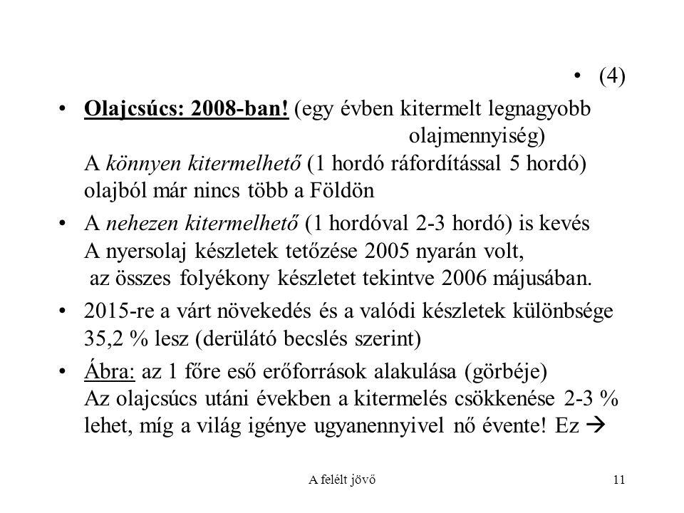 A felélt jövő11 (4) Olajcsúcs: 2008-ban.