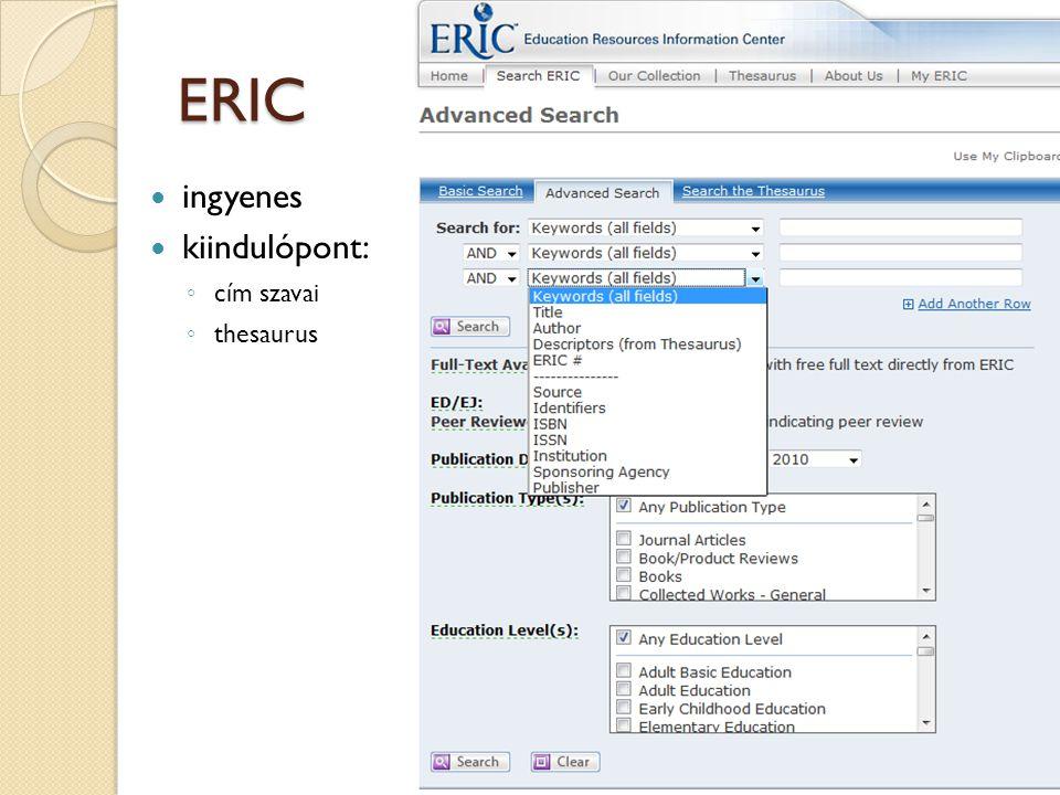 ERIC ingyenes kiindulópont: ◦ cím szavai ◦ thesaurus