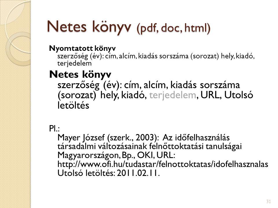 Netes könyv (pdf, doc, html) Nyomtatott könyv szerzőség (év): cím, alcím, kiadás sorszáma (sorozat) hely, kiadó, terjedelem Netes könyv szerzőség (év)