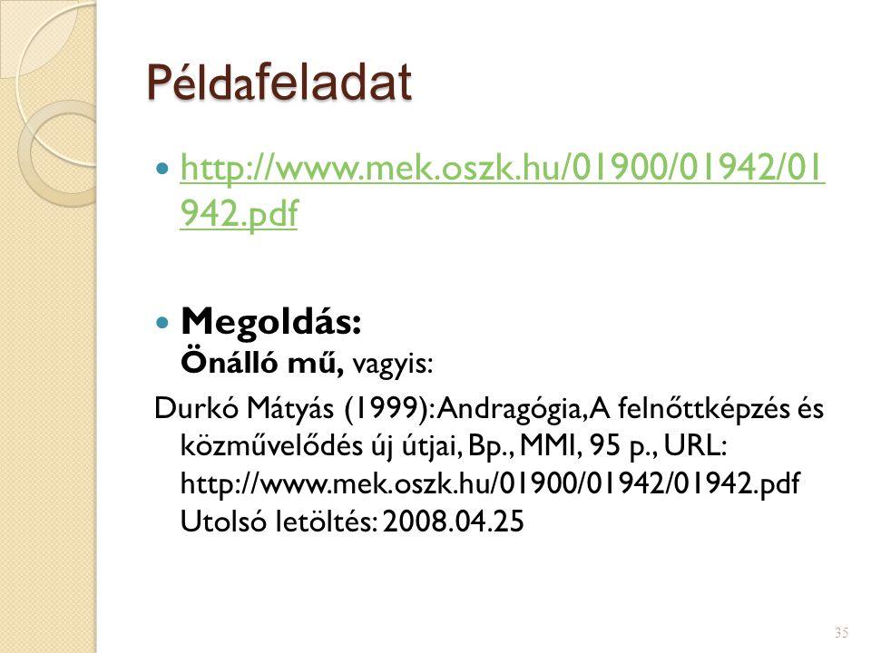 Példa feladat http://www.mek.oszk.hu/01900/01942/01 942.pdf http://www.mek.oszk.hu/01900/01942/01 942.pdf Megoldás: Önálló mű, vagyis: Durkó Mátyás (1