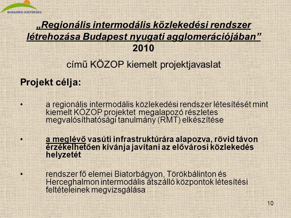 """10 """"Regionális intermodális közlekedési rendszer létrehozása Budapest nyugati agglomerációjában"""" 2010 című KÖZOP kiemelt projektjavaslat Projekt célja"""