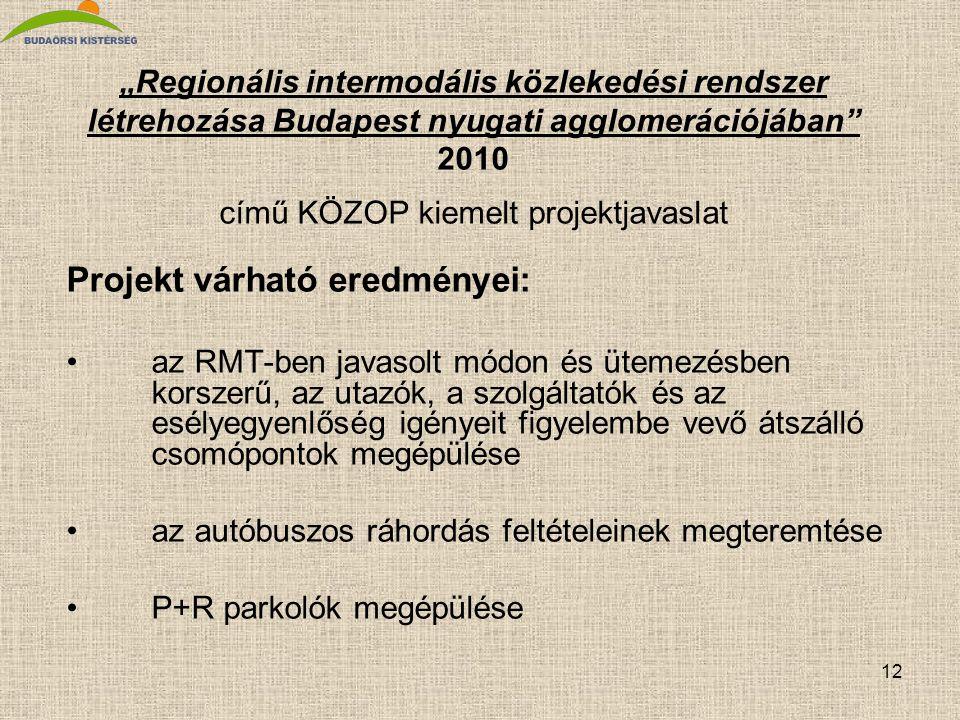 """12 """"Regionális intermodális közlekedési rendszer létrehozása Budapest nyugati agglomerációjában"""" 2010 című KÖZOP kiemelt projektjavaslat Projekt várha"""