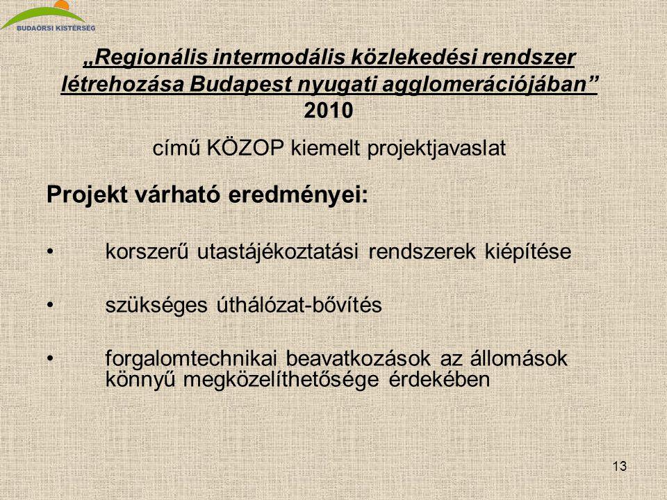 """13 """"Regionális intermodális közlekedési rendszer létrehozása Budapest nyugati agglomerációjában"""" 2010 című KÖZOP kiemelt projektjavaslat Projekt várha"""