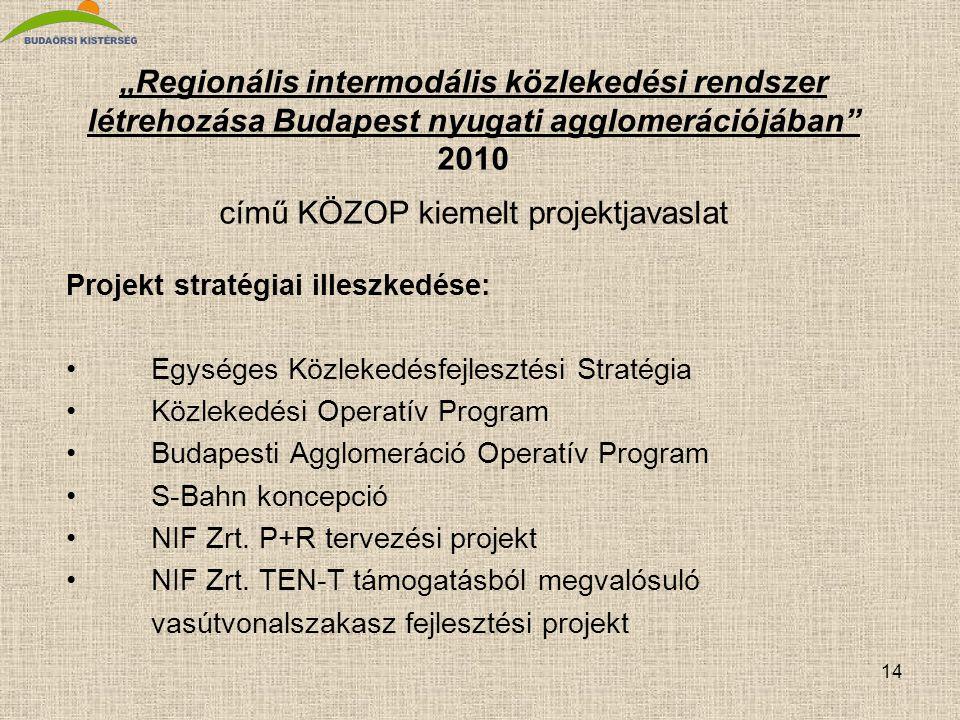 """14 """"Regionális intermodális közlekedési rendszer létrehozása Budapest nyugati agglomerációjában"""" 2010 című KÖZOP kiemelt projektjavaslat Projekt strat"""