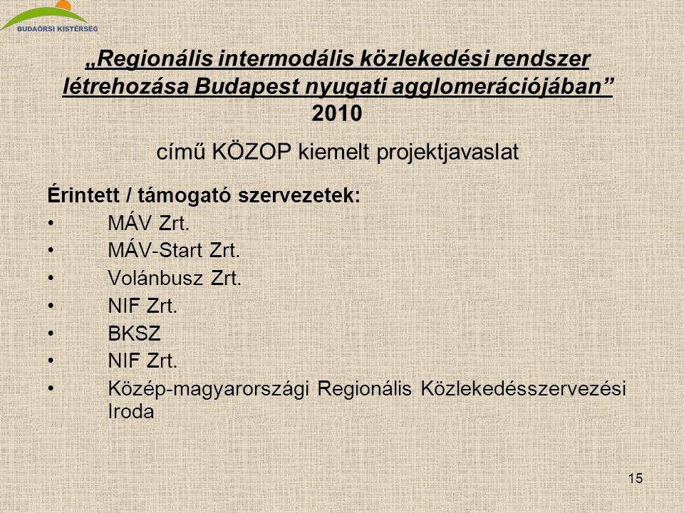 """15 """"Regionális intermodális közlekedési rendszer létrehozása Budapest nyugati agglomerációjában"""" 2010 című KÖZOP kiemelt projektjavaslat Érintett / tá"""