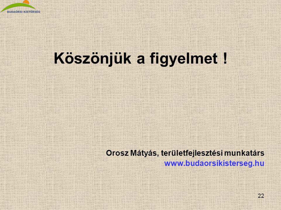 22 Köszönjük a figyelmet ! Orosz Mátyás, területfejlesztési munkatárs www.budaorsikisterseg.hu