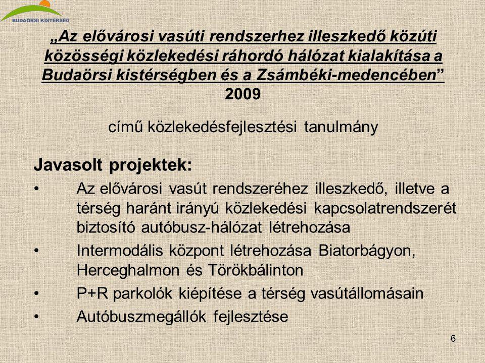 """6 """"Az elővárosi vasúti rendszerhez illeszkedő közúti közösségi közlekedési ráhordó hálózat kialakítása a Budaörsi kistérségben és a Zsámbéki-medencébe"""