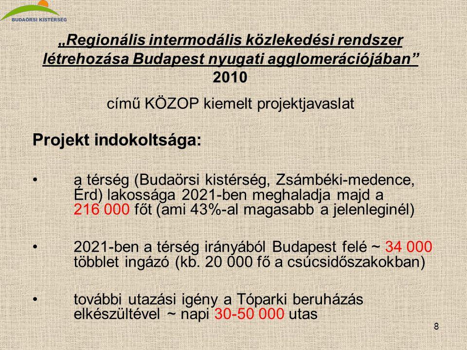"""8 """"Regionális intermodális közlekedési rendszer létrehozása Budapest nyugati agglomerációjában"""" 2010 című KÖZOP kiemelt projektjavaslat Projekt indoko"""