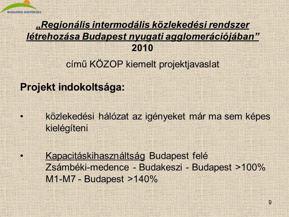 """9 """"Regionális intermodális közlekedési rendszer létrehozása Budapest nyugati agglomerációjában"""" 2010 című KÖZOP kiemelt projektjavaslat Projekt indoko"""
