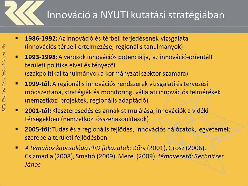 Innováció a NYUTI kutatási stratégiában  1986-1992: Az innováció és térbeli terjedésének vizsgálata (innovációs térbeli értelmezése, regionális tanulmányok)  1993-1998: A városok innovációs potenciálja, az innováció-orientált területi politika elvei és tényezői (szakpolitikai tanulmányok a kormányzati szektor számára)  1999-től: A regionális innovációs rendszerek vizsgálati és tervezési módszertana, stratégiák és monitoring, vállalati innovációs felmérések (nemzetközi projektek, regionális adaptáció)  2001-től: Klaszteresedés és annak stimulálása, innovációk a vidéki térségekben (nemzetközi összehasonlítások)  2005-től: Tudás és a regionális fejlődés, innovációs hálózatok, egyetemek szerepe a területi fejlődésben  A témához kapcsolódó PhD fokozatok: Dőry (2001), Grosz (2006), Csizmadia (2008), Smahó (2009), Mezei (2009); témavezető: Rechnitzer János