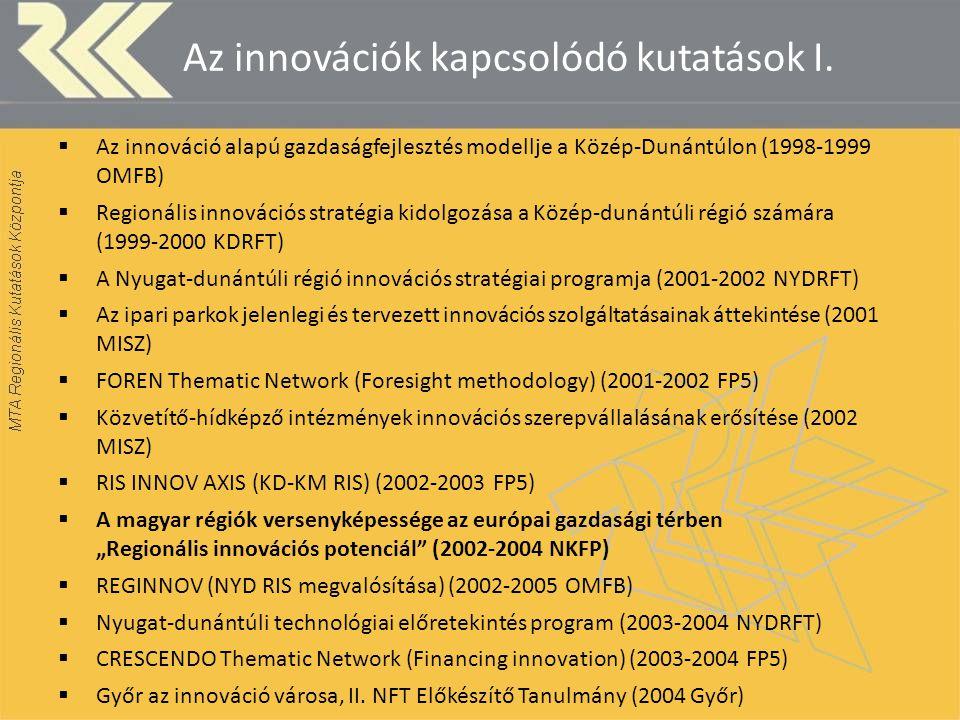 Az innovációk kapcsolódó kutatások I.