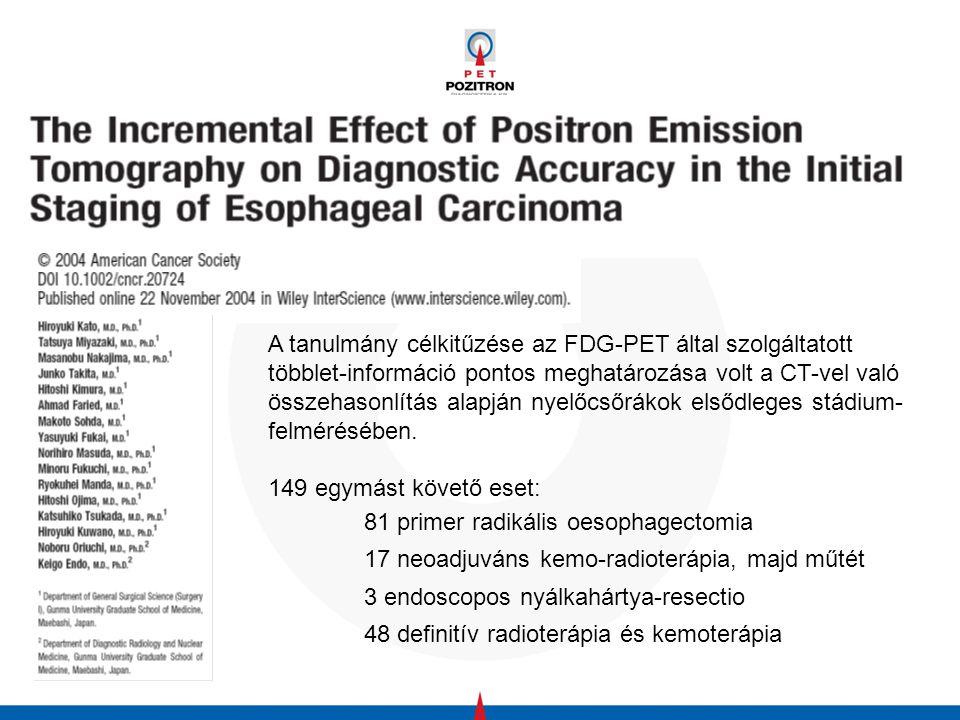 149 betegből 20 esetében hozott változást az FDG- PET a stádiumban (14%) 30 esetben a primer tumor nem volt látható a PET-en (T1-T2 tumorok)