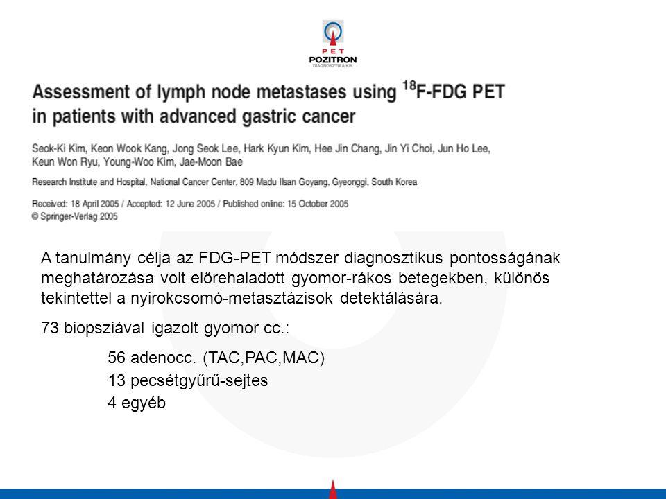 A szerzők az FDG-PET értékét kívánták meghatározni a CT- és MR-vizsgálatokkal összevetve a hasnyálmirigy-rákok kiújulásának felismerésében.