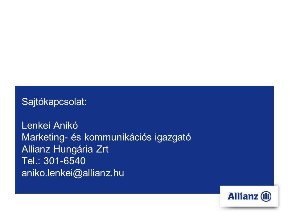 Sajtókapcsolat: Lenkei Anikó Marketing- és kommunikációs igazgató Allianz Hungária Zrt Tel.: 301-6540 aniko.lenkei@allianz.hu