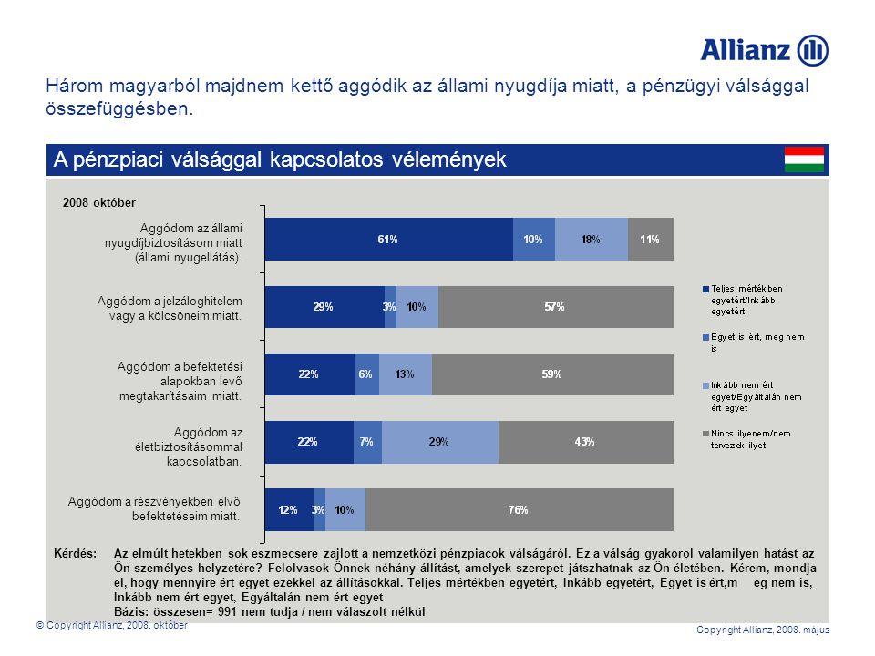 8 Copyright Allianz, 2008.május Aggódom a jelzáloghitelem vagy a kölcsöneim miatt.