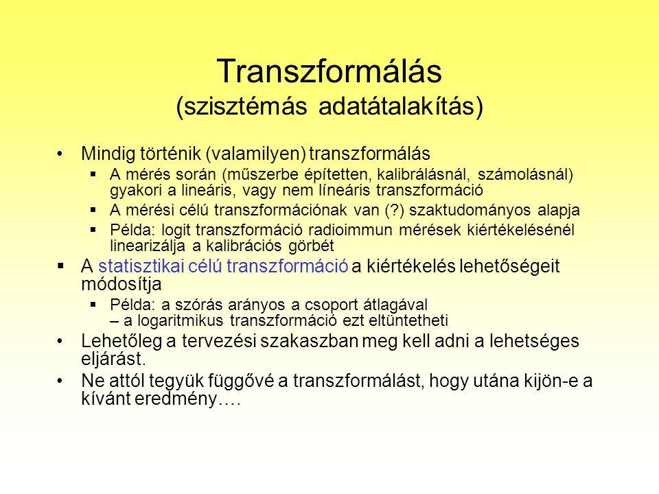 Transzformálás (szisztémás adatátalakítás) Mindig történik (valamilyen) transzformálás  A mérés során (műszerbe építetten, kalibrálásnál, számolásnál
